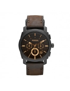 Orologio cronografo uomo acciaio e pelle Fossil Machine nero e marrone FS4656IE