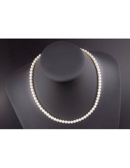 Collana di perle 4.5 - 5mm classe AAA con montatura in Oro bianco 18kt Miyu Pearl