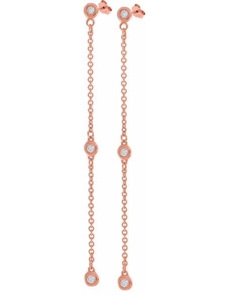 Orecchini Donna Diamante naturale da 0.15ct Oro rosa 18Kt Miyu