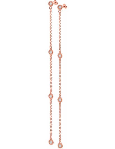 Orecchini Donna Diamante naturale da 0.20ct Oro rosa 18Kt Miyu